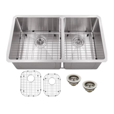 schon undermount stainless steel 32 in double basin