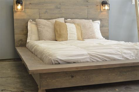 Wood Bed Frame With Headboard by Quilmes Floating Rustic Wood Platform Bedframe By