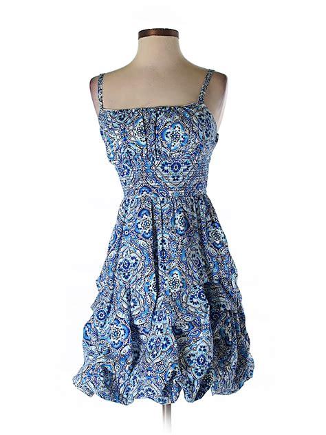 dress barn app dressbarn print blue casual dress size 4 76 thredup