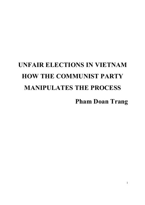 Unfair Elections in Vietnam (updated April 21, 2016)