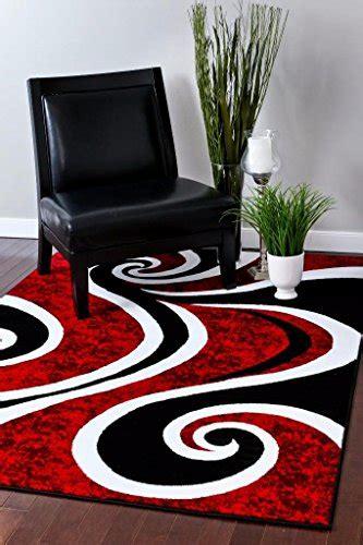 red black swirl white area rug carpet  modern