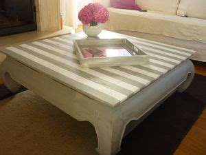 table basse relookee avec rayures decorin idees conseils
