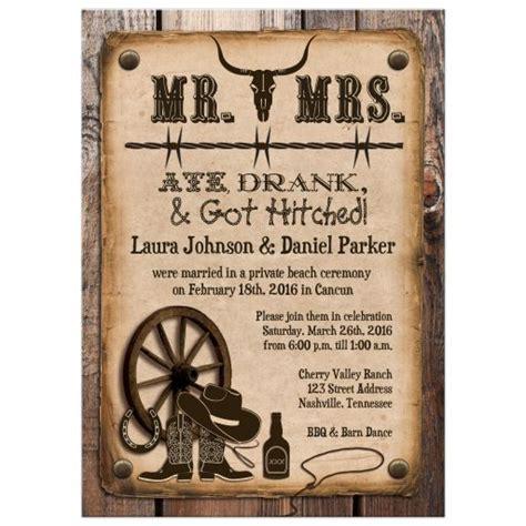 Post Wedding Invitation Rustic Mr & Mrs Western