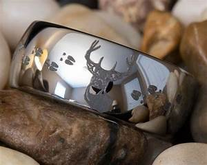 deer hunting wedding rings tungsten ring 10mm dome With deer hunting wedding rings