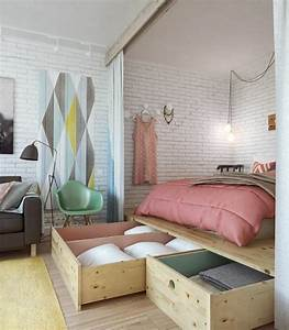 Kleines Zimmer Einrichten : kleine wohnung einrichten tipps schlafbett schubladen ziegelwand kleines wohnen pinterest ~ Sanjose-hotels-ca.com Haus und Dekorationen