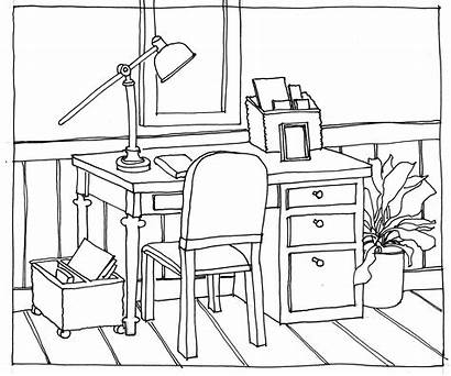 Drawing Table Perspective Chairs Desk Chair Line