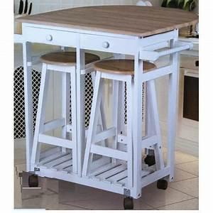 Table cuisine bar sur roulettes + 2 tabourets Achat / Vente table de cuisine Table cuisine bar