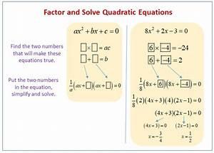 Factoring  U0026 Solving Quadratic Equations  Examples