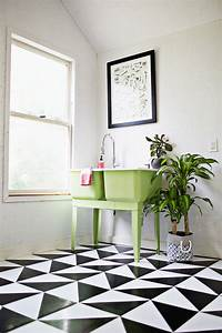 linoleum floor tiles Make A Patterned Floor With Linoleum Tile - A Beautiful Mess
