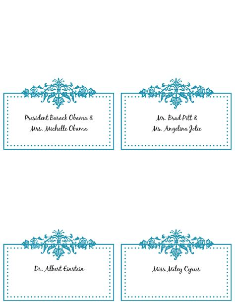 Free Printable Wedding Place Card Template