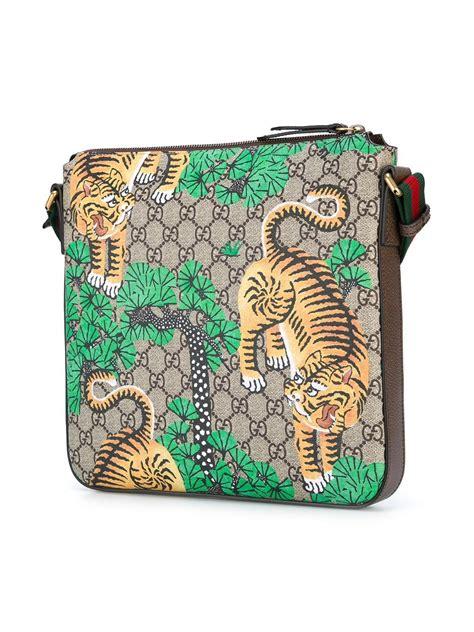 gucci leather bengal gg supreme print messenger bag  brown  men lyst