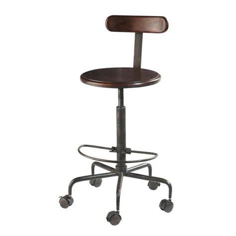 Tabouret De Bureau à Roulettes - chaise haute indus à roulettes en bois de sheesham massif
