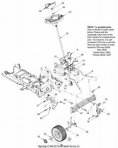 Troy Bilt 13aj609g766 Bronco  2004  Parts Diagram For Axle  Front Wheels  Steering