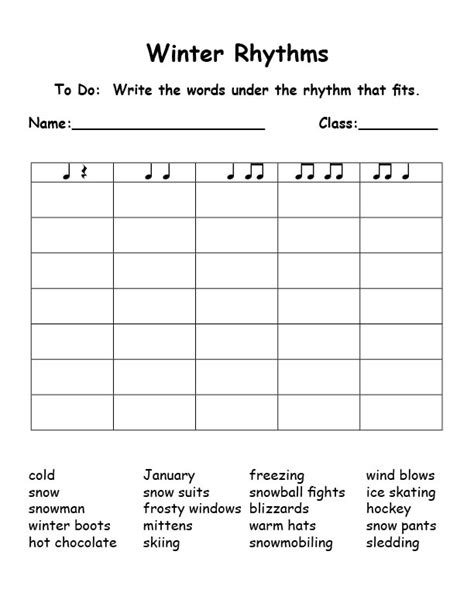15 Best Images Of Elementary Music Rhythm Worksheet  Winter Music Rhythm Worksheets, Christmas