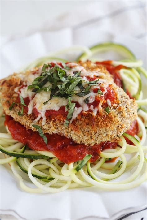 parmesan chicken noodles baked chicken parmesan with zucchini noodles eat yourself skinny