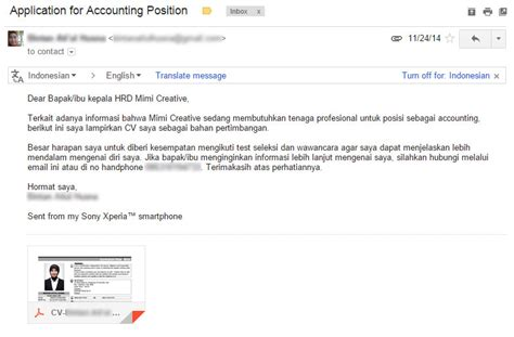 Cara Nulis Di Lop Lamaran Kerja by Contoh Format Surat Lamaran Kerja Via Email Ben