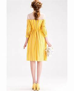Yellow stripe knee length wedding guest dress with 3 4 for 3 4 sleeve dresses for wedding guest