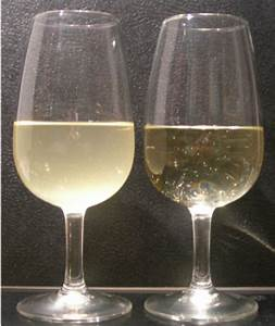 Example Of Protein Haze Formation In White Wine  On The