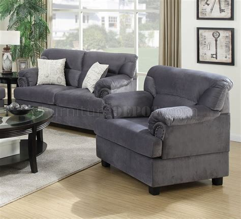 Fabric Loveseats by F7916 Sofa Loveseat Chair Set In Grey Fabric By Poundex
