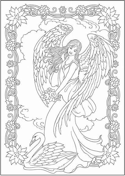 Coloring Angels Elegant Engel Dover Creative Angel