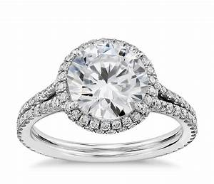 Blue nile studio cambridge halo diamond engagement ring in for Diamond wedding ring settings