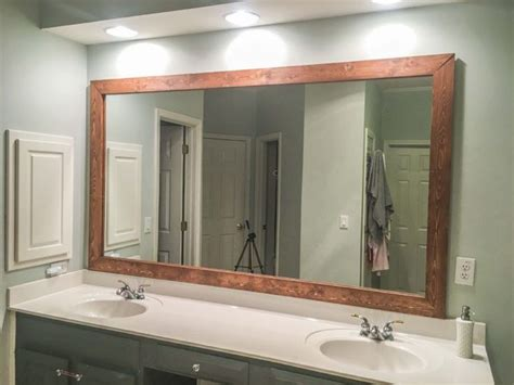Framed Bathroom Mirrors Diy by How To Diy Upgrade Your Bathroom Mirror With A Stained