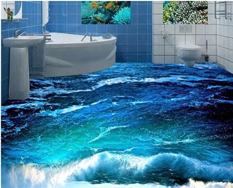 Custom photo floor wallpaper 3D stereoscopic 3D ocean
