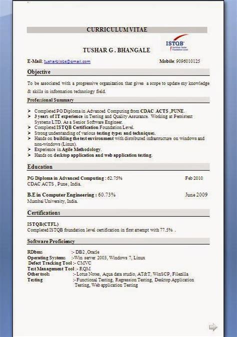 Istqb Certified Tester Fresher Resume by Carpenter Resume Exles