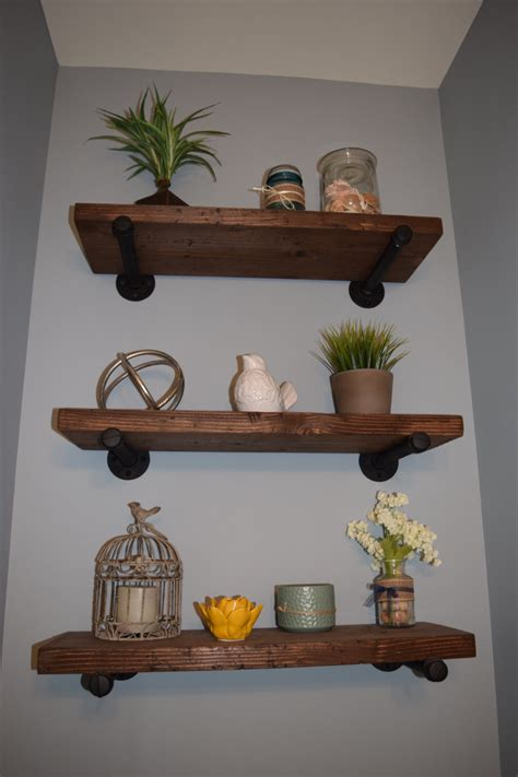 rustic wall shelf industrial wooden iron shelf rustic floating shelf wooden