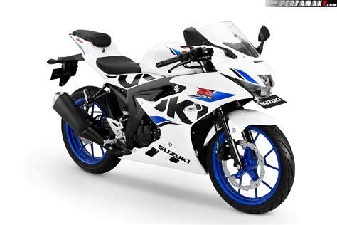 Modification Suzuki Gsx R150 by Warna Baru Suzuki Gsx R150 Putih Biru Brilliant White Cw