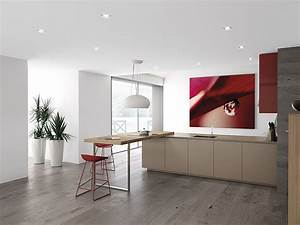 Dynamic Minimalist Kitchen Sizzles With Flaming Red