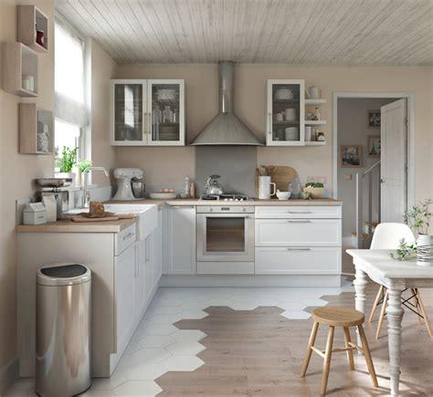 Alliance parfaite du blanc et du bois pour une cuisine moderne