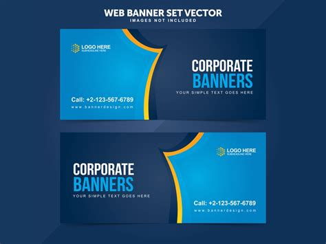 business web banner set vector templates  miyaji tech