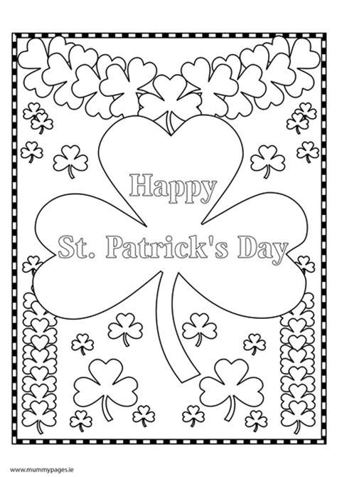 st patricks day shamrock colouring page mummypagesie