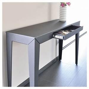 Console A Tiroir : zef console tiroir mati re grise en m tal l 120 cm ~ Teatrodelosmanantiales.com Idées de Décoration