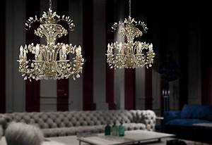 Crystal chandelier lighting the diamond collection by