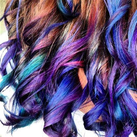 Curly Multi Color Hair Hairstyle Colorfulhair Dyed