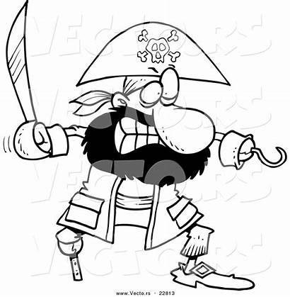 Pirate Cartoon Outline Coloring Sword Tough Clipart