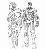 Coloring War Machine Iron Drawing Avengers Colouring Captain Marvel Lego America Armor Getdrawings sketch template