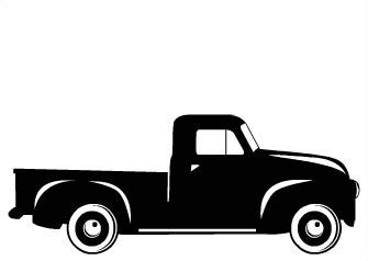 library  vintage pickup truck bed black  white svg freeuse library png files clipart art