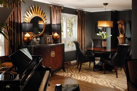 decoration chambre hotel luxe dramatic black gold and brown rooms