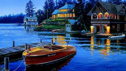 Lake Boat Dream Wallpapers Desktop Drawing Definition