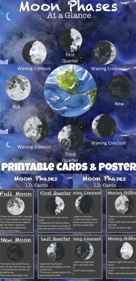 printable moon phases id cards bonus poster