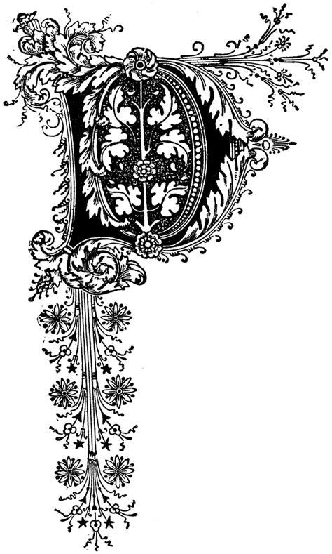 capital letter   floral motif clipart