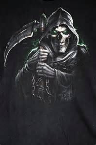 Grim Reaper Death Scythe Rock Punk Tattoo Black Death T