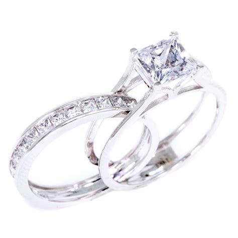 2 ct princess cut 2 piece solid 14k white gold engagement wedding ring band ebay