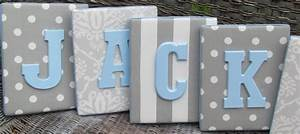 8x10 upholstered letter plaque nursery name decor in gray With white nursery letters