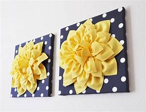Navy wall decor yellow dahlia on and white polka dot