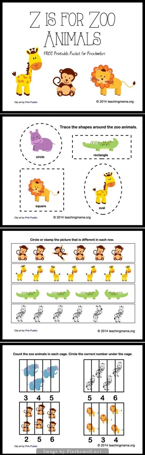 z is for zoo animals letter z printables tracing shapes zoos and count