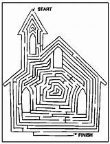 Church Coloring Pages Printable Mazes Bible Activity Maze Cathedral Printables Activities Way Crafts Colouring Sheets Christian Sunday Fun Children Catholic sketch template